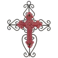 Red & Black Metal Cross with Ceramic Center