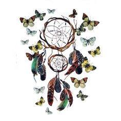 Butterfly Waterproof Temporary Tattoo Stickers DreamCatcher Tattoo ...