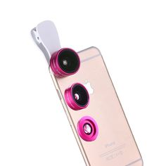 iPhone Lens for 6 /6s /7 Plus, 3 in 1 Wide Angle + Macro + Fish Eye Clip-on Camera Lenses Kit for Most Smart Phones (Rose Red). This is a universal 3 in 1 camera lens kit for iPhone 6s/6s plus/6/6 plus/7 and most mobile phone.Wide angle lens can shoot larger range of scenery;15X Macro lens can take clear photos of small objects like flowers and insects;180 degree of the scene can be captured by Fish eye lens, which takes you into a fantastic world. Note that the wide angle lens and the…