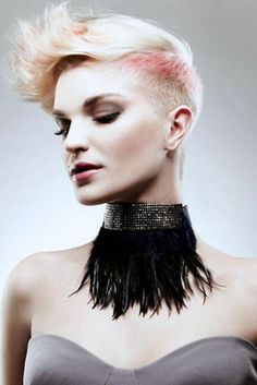 A short blonde straight coloured platinum spikey shaved-sides womens hairstyle by Mob Salons Short Hair Updo, Very Short Hair, Cute Hairstyles For Short Hair, Hairstyles For Round Faces, Formal Hairstyles, Straight Hairstyles, Short Hair Styles For Round Faces, Short Styles, Love Hair