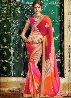 Red Pink Orange Embroidery Work Georgette Leheriya Print Designer Sarees #Wedding #Bridal #designer #Saree http://www.angelnx.com/Sarees