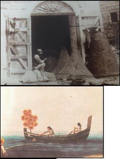 L. F. Tortell: Mending fishing nets at Wied iz-Zurrieq, 1933 (Harker Collection) - A 19th century Ferilla with fishing traps (National Library, Malta