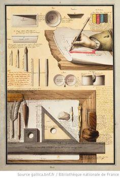 On voi[t] sur ce dessin des instrumens [sic] à l'usage de celui qui dessine au trait, qui ombre ; enfin qui fini et termine une représentation géométrale ... / Jean-Jacques Lequeu