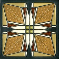 This tile is adapted from Frank Lloyd Wrights art glass design in one of three vestibule ceiling light fixtures in the Frank Thomas House. Built in Oak Park, Illinois, in the Thomas House holds Más Art Deco Design, Glass Design, Design Design, House Design, Azulejos Art Nouveau, Art Nouveau Tiles, Tuile, Wall Ornaments, House Tiles