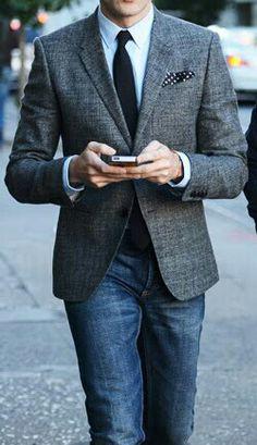 Jacket, tie, pocket square, jeans > all work