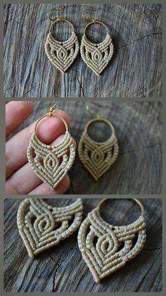 Micro macrame bohemian hoops in beige, Macrame earrings with brass hoops and waxed cord, Summ. Micro macrame bohemian hoops in beige, Macrame earrings with brass hoops and waxed cord, Summer fes Macrame Colar, Macrame Necklace, Macrame Bracelets, Gypsy Jewelry, Beaded Jewelry, Jewellery, Macrame Earrings Tutorial, Micro Macrame Tutorial, Earrings Handmade