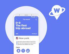 "My trip app ""Wanderland"" Wanderland, Mobile Design, Travel Abroad, Communication, Behance, Plait, Cards, Animation, App Design"