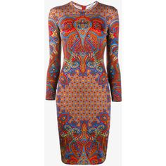 Givenchy Paisley Print Long Sleeve Dress (€1.000) ❤ liked on Polyvore featuring dresses, red paisley dress, tight red dress, knee-length dresses, fitted dresses and red knee length dress