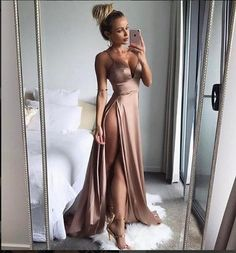 Evening Dress ,Thigh High Slits Sexy Evening Dress Elastic Satin Concise Long Party Gowns, Spaghetti Straps Deep V neck Hot Evening Dresses,sexy prom dress slit V Neck Prom Dresses, Prom Dresses 2018, Mermaid Prom Dresses, Sexy Dresses, Beautiful Dresses, Split Prom Dresses, Dress Prom, Champagne Evening Dress, Sexy Evening Dress