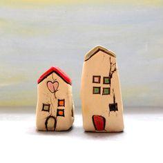 Satz von zwei kleinen Keramik beherbergt von ednapio auf Etsy