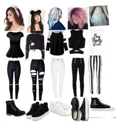 """""""HOW I PUNK ROCK AT  School"""" by acruz69 ❤ liked on Polyvore featuring adidas Originals, WithChic, Balmain, Off-White and Timberland"""
