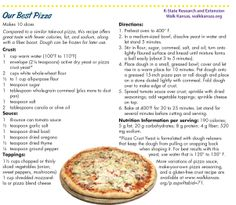 Compared to similar take-out pizza, this recipe offers great taste with fewer calories, less fat and sodium, along with a fiber boost! Kansas State University, Good Pizza, Take Out, Recipies, Oven, Fiber, Fat, Recipes, Low Fiber Foods