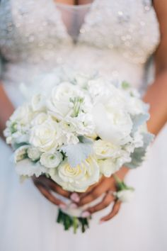 White rose and lambs ear wedding bouquet: Photography: My Astrid - http://www.myastrid.com/