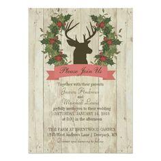 Rustic Winter Wedding Deer Antlers on Wood Grain
