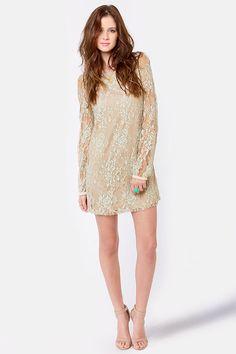 Beautiful Beige Dress - Lace Dress - Shift Dress - $60.00 #lulusholiday