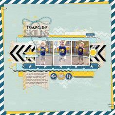 I love the way the papers are twisted to show peeks of yellow behind the main paper. And the arrow across the middle is so cute! Trampoline Skills - Scrapbook.com