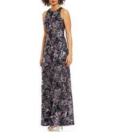 a9ab23cf604 Belle Badgley Mischka Amy Crew Neck Sleeveless Sequin Dress
