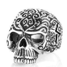 Men's Titanium Carved Cross Skull Ring