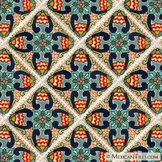 Mexican Tile - Samantha Mexican Tile Fabric Design, Pattern Design, Hacienda Homes, Mexican Ceramics, Textile Prints, Textile Art, Tiles Texture, Style Tile, Surface Pattern