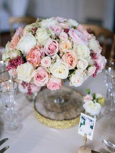 Elegant rose arrangement: http://www.stylemepretty.com/little-black-book-blog/2014/12/29/elegant-private-chateau-wedding/ | Photography: Ian Holmes - http://ianholmes.net/
