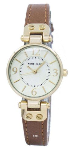 Features:  Gold Tone Stainless Steel/Metal Case Leather Strap Quartz Movement Mineral Crystal Champagne Dial Analog Display Pull/Push Crown Buckle Clasp 30M Water Resistance  Approximate Case Diameter: 26mm Approximate Case Thickness: 8mm