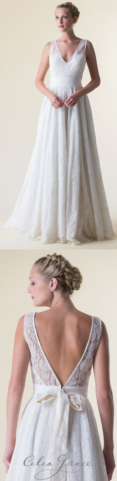 A wedding dress with illusion lace with straps