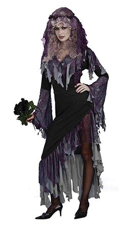 581d9cd63a0b Women's Zombie Bride Costume, Black/Gray, One Size