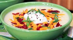 This recipe has all of the flavour elements of a loaded baked potato, but is delivered as a rich, creamy soup that's comforting and playful. Chef Joshna likes to bake the potato skins and serve them alongside the soup, so. Leftover Baked Potatoes, Baked Potato Soup, Soup Recipes, Cooking Recipes, Yummy Recipes, Recipies, Tasty Dishes, Food Dishes, Gluten Free Soup