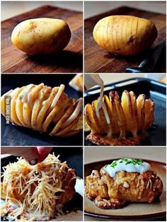 Creative and delicious ♥ Scalloped Hasselback Potatoes I Love Food, Good Food, Yummy Food, Baked Potato Slices, Baked Potato Fillings, Cooking Recipes, Healthy Recipes, Cooking Tips, Cooking Grill