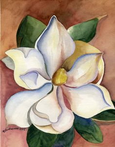 Southern Tradition - Watercolor Painting of Magnolia Watercolor Artists, Watercolor Flowers, Watercolor Paintings, Art Flowers, Watercolor Images, Flower Paintings, Painting Flowers, Watercolours, Art Floral