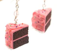 Birthday cake earrings : chocolate cake with pink frosting. $28.00, via Etsy.