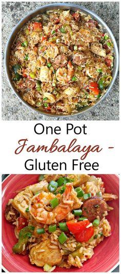 One Pot Jambalaya Recipe - (Gluten Free) - Chicken Shrimp Sausage Delight Cajun Recipes, Healthy Recipes, Fish Recipes, Delicious Recipes, Chicken Recipes, Healthy Food, One Pot Jambalaya Recipe, Chicken And Shrimp, Shrimp Meals