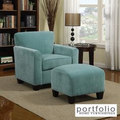 Portfolio Park Avenue Turquoise Blue Velvet Arm Chair and Ottoman | Overstock.com Shopping - Great Deals on PORTFOLIO Chairs