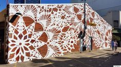 Lace art - urban jewelry new lace street art by nespoon Murals Street Art, Art Mural, Street Art Graffiti, Urbane Kunst, Urban Jewelry, Lace Art, Atelier D Art, Facade House, House Facades