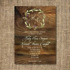 Customized Printable Invitations - Olive Branch Wreath on Wood Invite - High Resolution Digital File