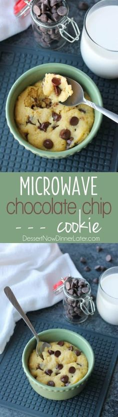 This microwave chocolate chip cookie is the perfect dessert for one! It cooks in only seconds for a super quick, sugar fix. This microwave chocolate chip cookie is the perfect dessert for one! It cooks in only seconds for a super quick, sugar fix. Mug Recipes, Easy Cookie Recipes, Easy Desserts, Sweet Recipes, Baking Recipes, Delicious Desserts, Dessert Recipes, Yummy Food, Quick Chocolate Desserts