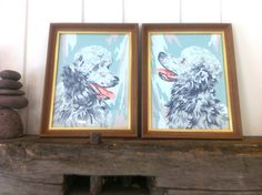 Pair Vintage Paint by Numbers Poodles Turquoise Grey White by Pesserae on Etsy