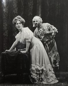 """A Vaudeville performance based on the old English ballad """"Death and the Lady"""". Photographed by Joseph Hall, 1906"""