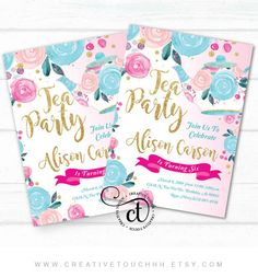 Tea Party Invitation  Tea Party Birthday Invitation  Tea Party