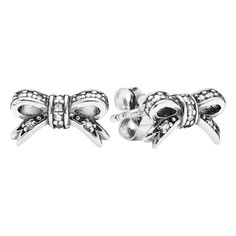 PANDORA 'Sparkling Bow' Crystal Stud Earrings ($60) ❤ liked on Polyvore featuring jewelry, earrings, bow jewelry, bow earrings, pandora earrings, post earrings and bow stud earrings