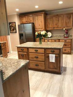 Kitchen Cabinets And Flooring, Hickory Kitchen Cabinets, Brown Cabinets, Maple Cabinets, Kitchen Redo, Kitchen Remodel, Kitchen Design, Kitchen Ideas, Knotty Alder Kitchen