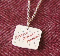 d62b30810 Gender Pronouns, Silver Color, Transgender, Jewelry Shop, Lgbt, Dog Tag  Necklace