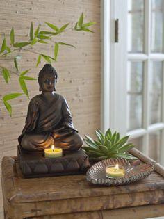 Kerzenhalter Buddha / Buddha  / Pillar-Kerzenhalter Blatt / Porte-pilier Feuille sculptée
