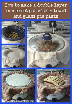 So this is a GENIUS idea! make a double layer in a crockpot with a towel and glass pie plate Crock Pot Freezer, Crockpot Dishes, Crock Pot Slow Cooker, Crock Pot Cooking, Freezer Meals, Slow Cooker Recipes, Crockpot Recipes, Dump Recipes, Cooking Steak