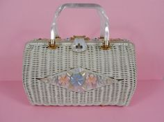 1950's White Basket Purse with Lucite Flowers by vintagebluemoon, $110.00