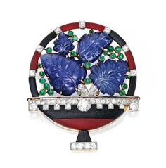 18 Karat Gold, Platinum, Colored Stone and Diamond Brooch, Cartier, France - circa 1930.