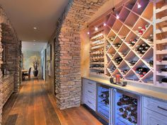 Built-in wine cellar and wine chillers.