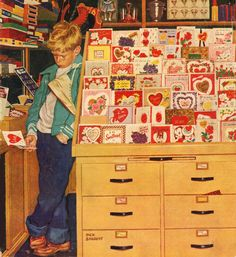 First Valentine, art by Dick Sargent. Detail from February 11, 1956 Saturday Evening Post cover.
