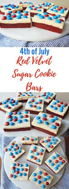 BEST EVER Red Velvet Sugar Cookie Bars are the perfect dessert to bring to your 4th of July BBQ.  Rich, soft red velvet sugar cookie bars topped with sweet cream cheese frosting.