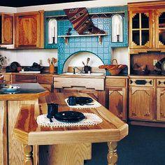 #Cricut Southwestern kitchen ceraminc tiles. Great color & textures! turquoise & wood